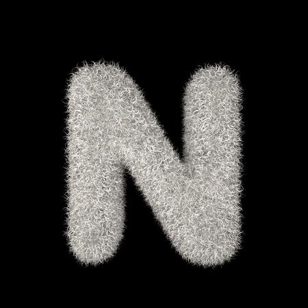 3D Rendering Creative Illustration White Furry Letter N