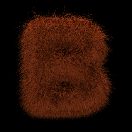 Illustration 3D Rendering Creative Illustration Ginger Orangutan Furry Letter B