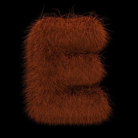 Illustration 3D Rendering Creative Illustration Ginger Orangutan Furry Letter E