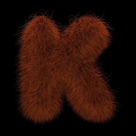 Illustration 3D Rendering Creative Illustration Ginger Orangutan Furry Letter K Stock Photo