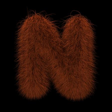 Illustration 3D Rendering Creative Illustration Ginger Orangutan Furry Letter N