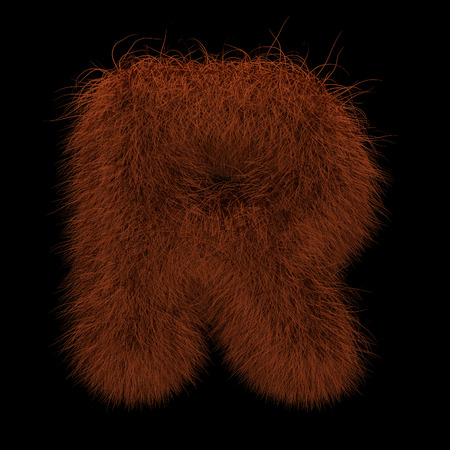 Illustration 3D Rendering Creative Illustration Ginger Orangutan Furry Letter R Stock Photo