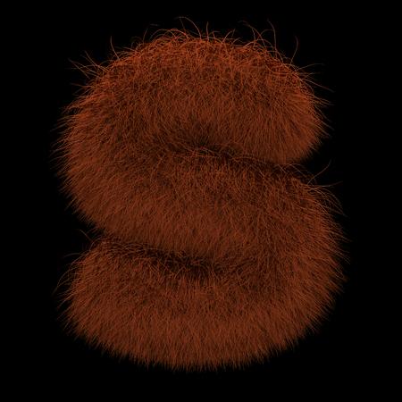 Illustration 3D Rendering Creative Illustration Ginger Orangutan Furry Letter S Stock Photo