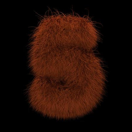 Illustration 3D Rendering Creative Illustration Ginger Orangutan Furry Number 5 Stock Photo