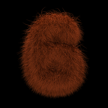 Illustration 3D Rendering Creative Illustration Ginger Orangutan Furry Number 6 Stock Photo