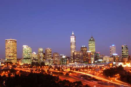 City Of Perth Night Scene Stock Photo