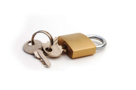 A lock with the keys attached Stock Photo