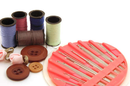necessity: Threads, buttons and sewing kit Stock Photo
