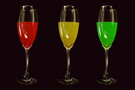 Red, Yellow ,Green Liquor illustrate the traffic light. Concept of do not drink and drive Stock Photo