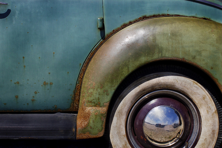 vintage american classic 1940s automobile with whitewall tires stock photo