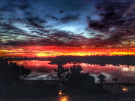 Beautiful sunset over lagoon