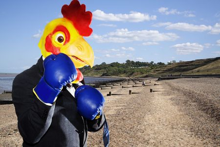 chicken businessman boxing in the beach  photo