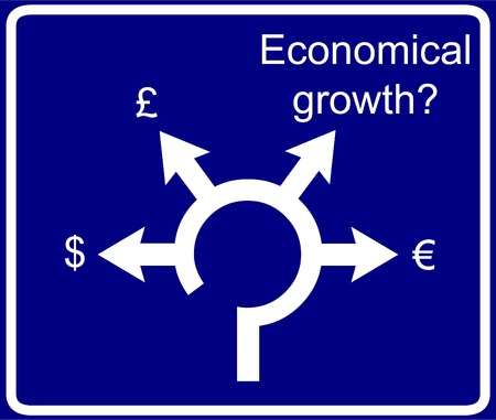 conjuncture: Economical roundabout sign