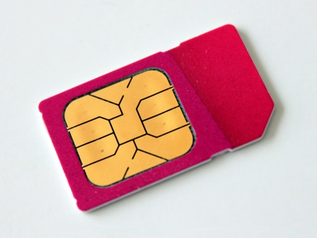 Red SIM card Stock Photo - 12179378