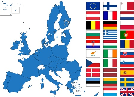 malta map: European Union map with flags