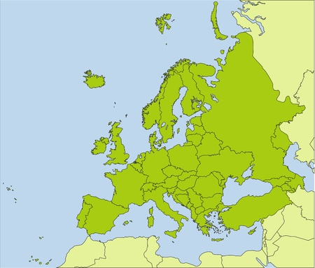 EUROPE MAP: European countries Illustration