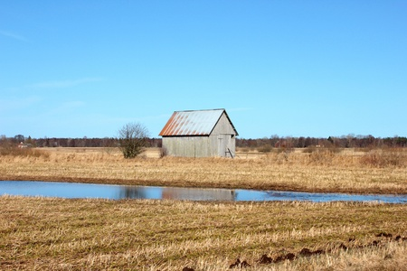 Old barn in the Swedish fields photo