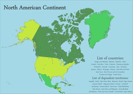 Noord-Amerikaanse continent Kaart Vector Illustratie