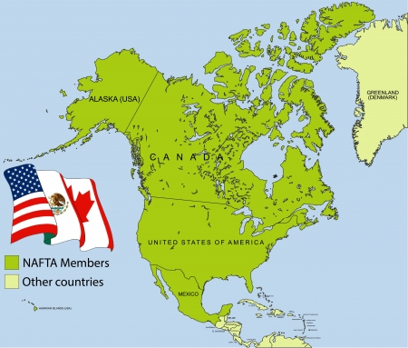 NAFTA map Stock Vector - 17190837