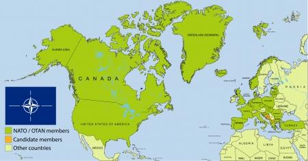 NATO - OTAN organization map Stock Vector - 17385629