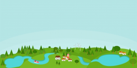 Countryside illustration with lakes Vector