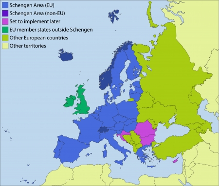 schengen: Schengen area and surroundings Illustration