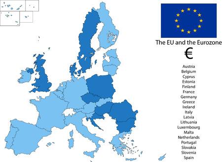 bce: EU and the Euro zone Illustration