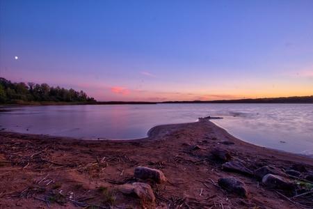 stern: Vidöstern lake, Sweden during dusk