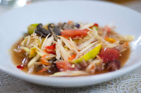 Papaya salad with pickled crab on white dish, Somtum, Thai food Stock Photo