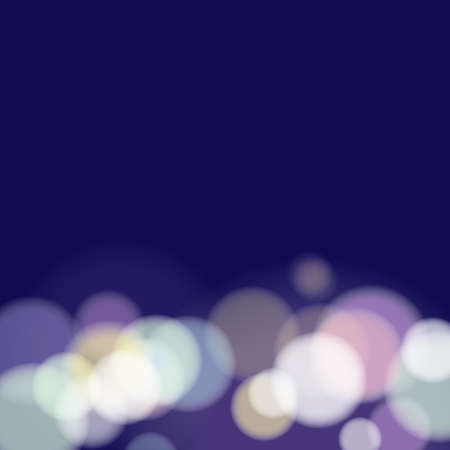 Blue night bokeh abstract background, vector illustration
