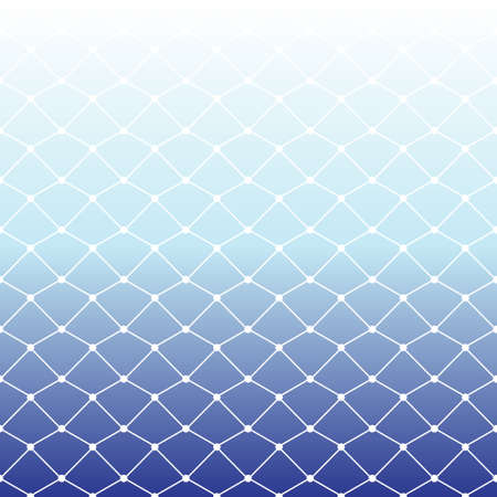 Seamless fishing net pattern on white and blue gradient background for summer, vector illustration Illustration