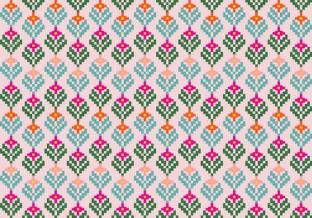 Tribal flower seamless pattern, ethnic style vector illustration