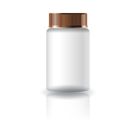 Blank white medicine round bottle with grooved lid for healthy product packaging. Isolated on white background with reflection shadow. Ready to use for package design. Vector illustration. Vectores