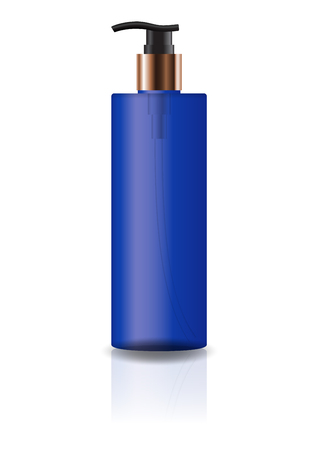 Blank blue cosmetic cylinder bottle with pump head for beauty or healthy product. Isolated on white background with reflection shadow. Ready to use for package design. Vector illustration.