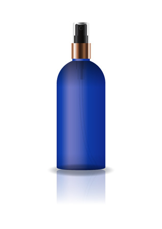 Blank blue cosmetic round bottle with pressed spray head for beauty or healthy product. Isolated on white background with reflection shadow. Ready to use for package design. Vector illustration. Illusztráció