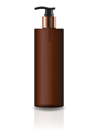 Blank brown cosmetic cylinder bottle with pump head for beauty or healthy product. Isolated on white background with reflection shadow. Ready to use for package design. Vector illustration.