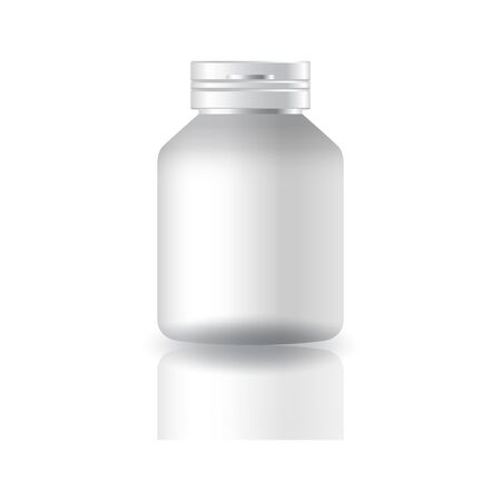 Blank white round supplements or medicine bottle with cap lid for beauty or healthy product. Isolated on white background with reflection shadow. Ready to use for package design. Vector illustration. Stock Illustratie