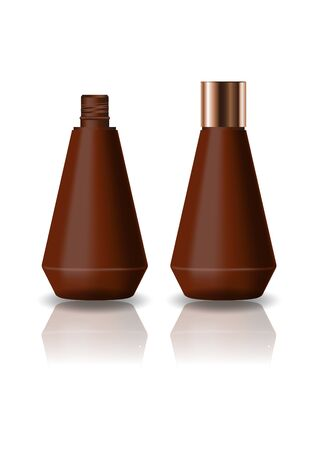 Blank brown cone shape cosmetic bottle with screw lid for beauty or healthy product. Isolated on white background with reflection shadow. Ready to use for package design. Vector illustration.