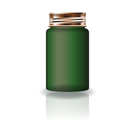 Blank green medicine round bottle with screw lid for beauty or healthy product. Isolated on white background with reflection shadow. Ready to use for package design. Vector illustration.