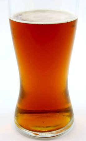 Glass of Amber beer, isolated on white photo