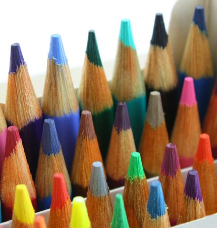 upright: Pencil crayons pack, upright, colorful and close up shot