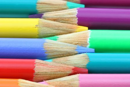 Colorful pencil crayons alternating horizontal Stock Photo - 6157910