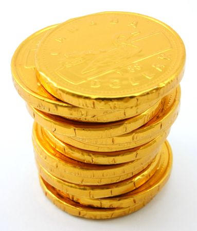 Single stack of chocolate gold coins, isolated Imagens