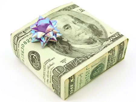 make a gift: American 100 dollar bill wrapped around gift, isolated