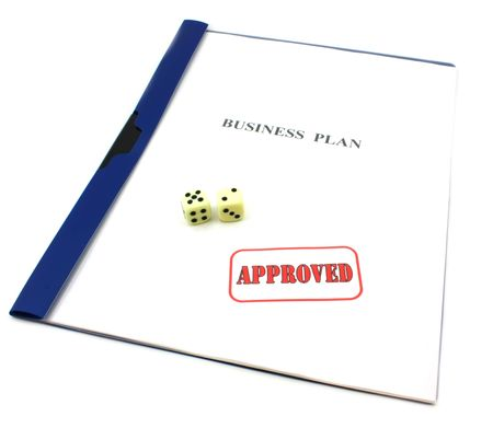 Business plan with approved stamp, gambled with dice concept, isolated on white