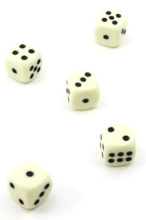wagers: Five white dice, one to five, isolated on white