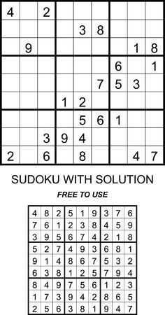 Sudoku with solution, Free to use on your website or in print