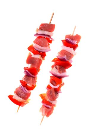Shashlik on a withe isolated background with copy space Stock Photo - 5320698