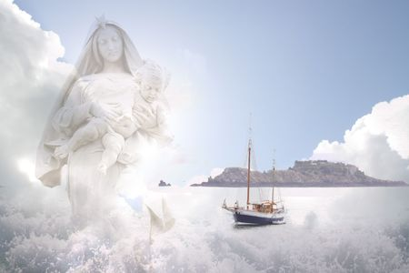 Sailors entering waves, watched by mother Maria