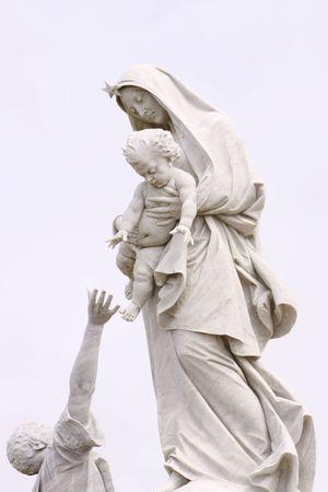 Moeder Maria en een visser  Stockfoto